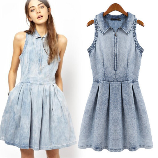 Plus Size Denim Sundress Sleeveless Cotton Denim Jeans Dress Pleated ...