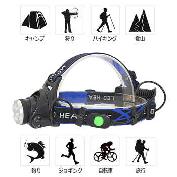 Headlamp zoom headlight  XML T6 LED head torch head light outdoor lighting + 18650 Battery + AC/Car Charger - DISCOUNT ITEM  0 OFF All Category