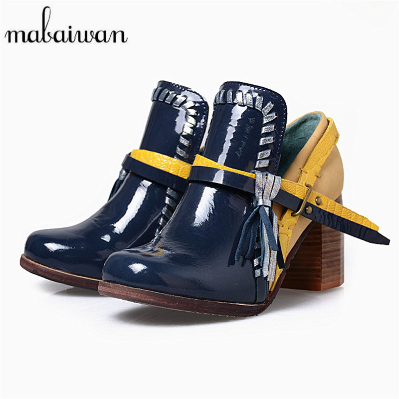 M Mixed Color Women Ankle Boots Square High Heel Shoes Woman Fringed Booties Chaussure Femme Women Pumps Martin Botas 2017 fashion new red horsehair women ankle boots square high heel short booties autumn zip up martin botines mujer women pumps