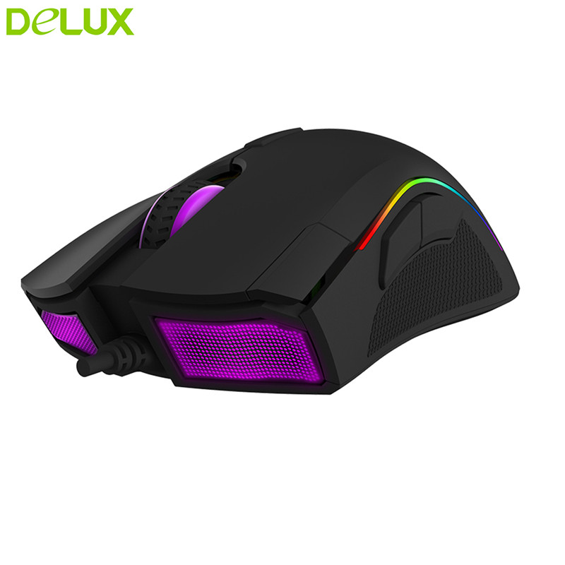 Delux souris Gamer filaire M625 USB souris optique 5000 DPI 6600FPS ACC20G 7 boutons avec LED RGB rétro-éclairé véritable coque ABS mat