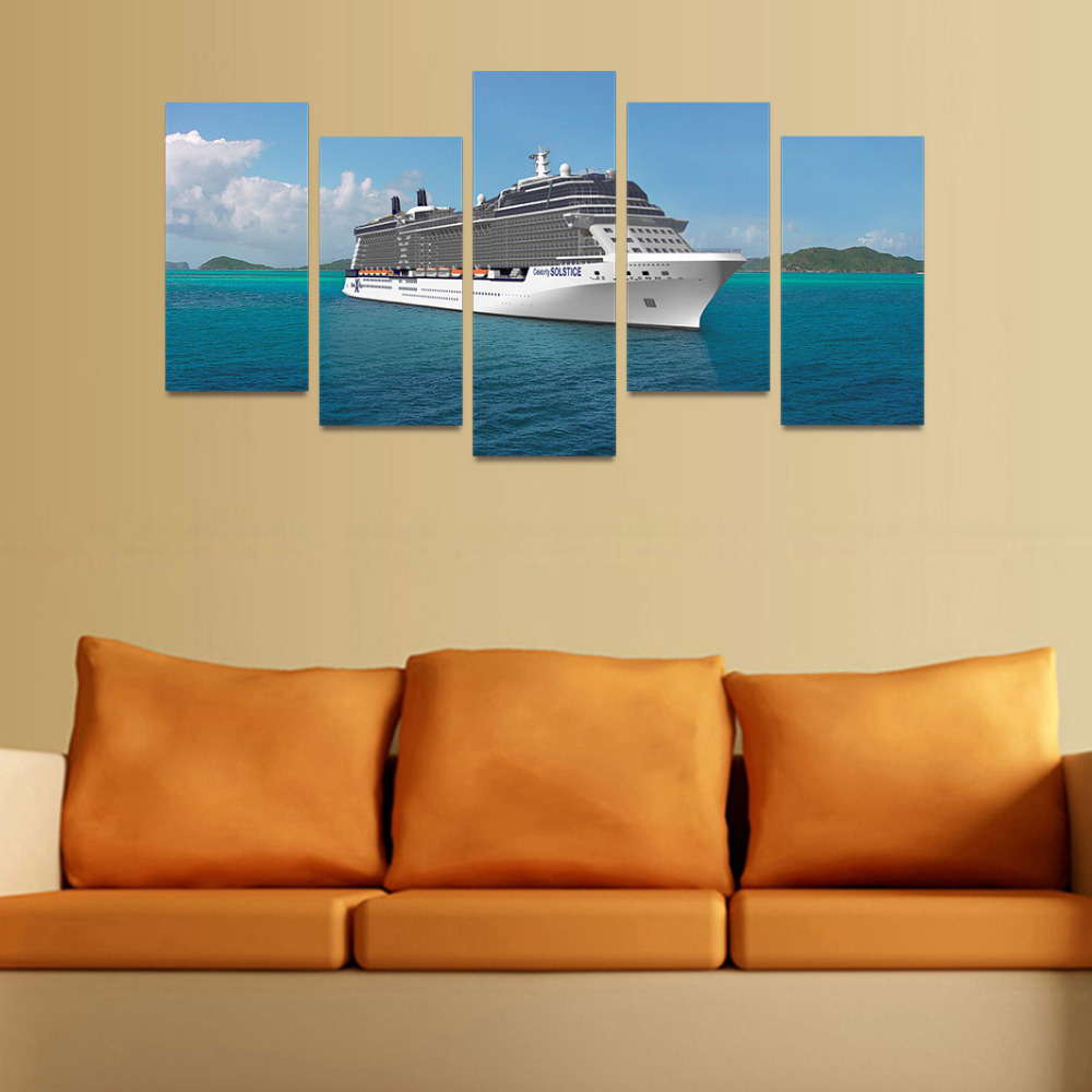 5 Panels Canvas Print Big Ship set sail Painting Wall Art Picture ...