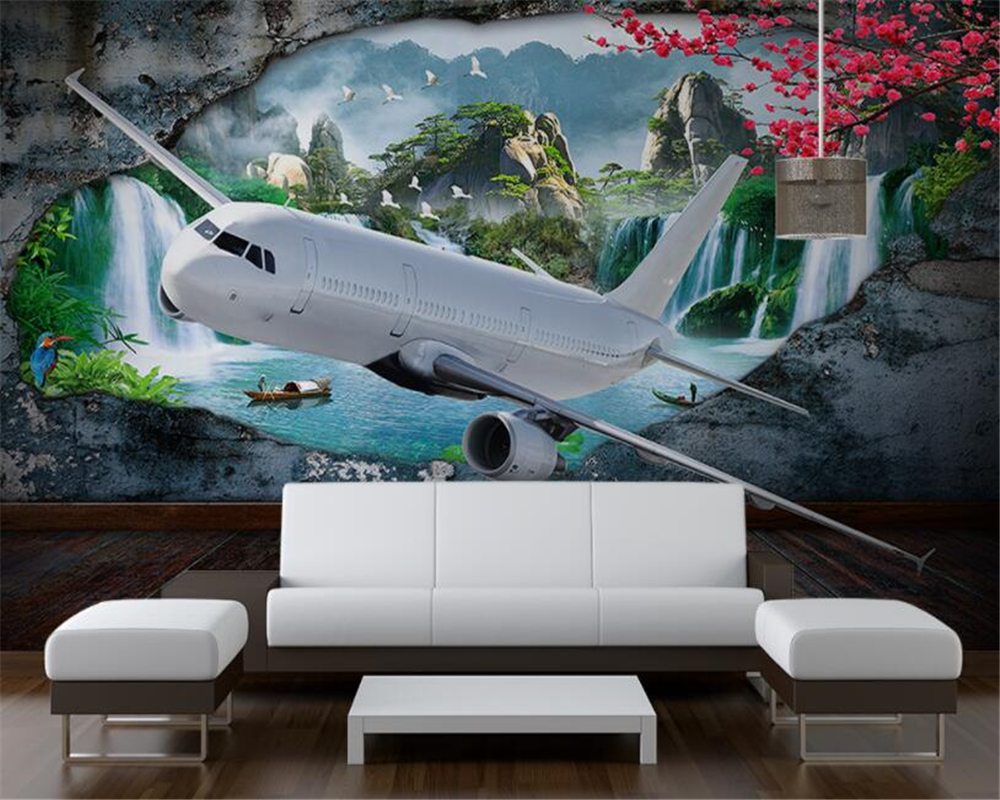 Beibehang Custom Mural Waterfall Flowing Water Aircraft Photo Wall Mural Wallpaper Living Room Room Landscape 3d Wallpaper