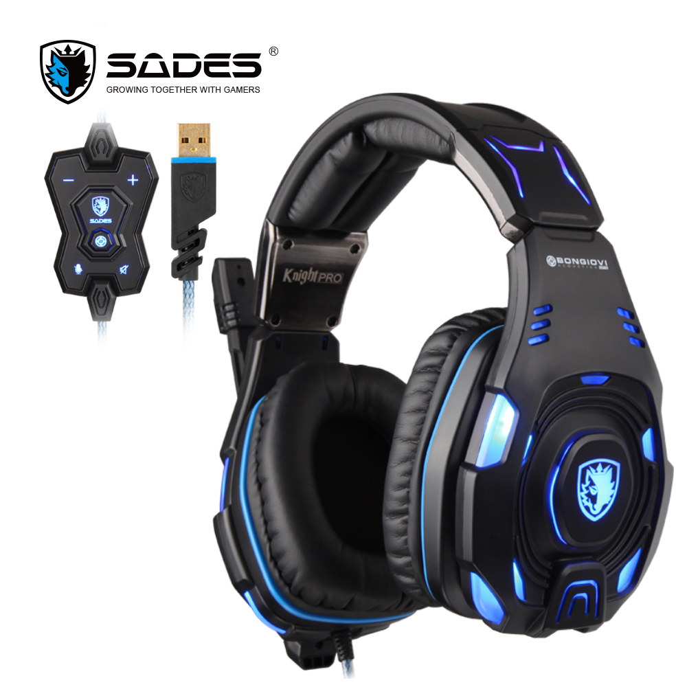 SADES Knight Pro BONGIOVI Audio Gaming Headset USB Professionele Hoofdtelefoon Noise Cancelling-in Hoofdtelefoon/Headset van Consumentenelektronica op  Groep 1