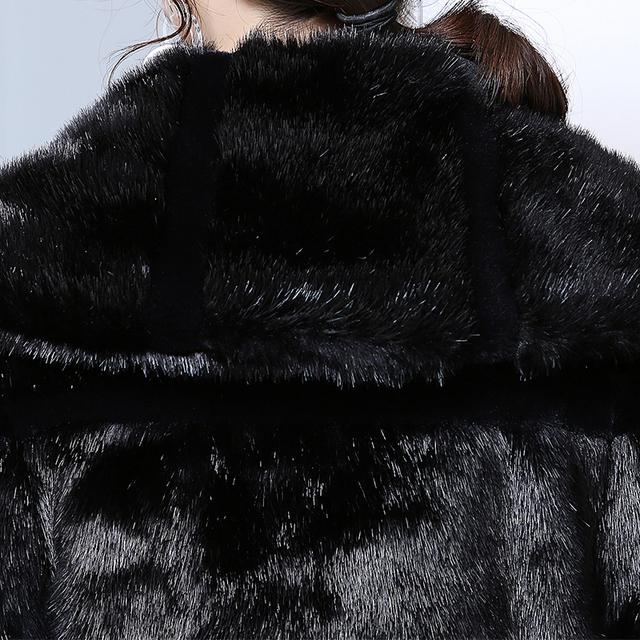 Nerazzurri Duster Faux Fur Coat Women 2019 Winter Extra Long Black Striped Patchwork Plus Size Fake Fur Overcoat xl -5XL 6XL 7XL