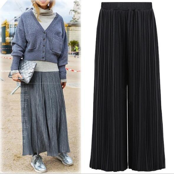 spring 2017 NEW elastic waist wide leg pants female casual trousers skirt formal loose ol straight pants Trousers Female MK055