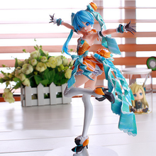 9 Anime Volcaloid Hatsune Miku Orange Blossom Princess ver. Boxed 23cm PVC Action Figure Model Doll Toys NO10 9 inch date a live nightmare tokisaki kurumi two gun ver boxed 23cm pvc anime action figure collection model doll toys gift
