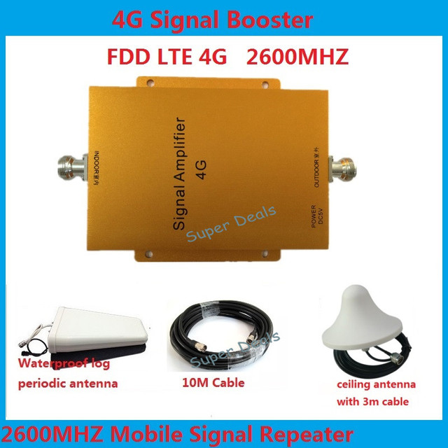 1 Set 65dB Mobile Signal Booster LTE Repeater 4G amplifier 2600MHZ Cell Phone Amplifier 4g cell phone booster kit with antenna