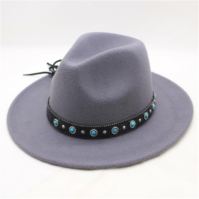 2018 Autumn Winter New Wool Belt buckle Jazz Top Hat Felt Wide Brim Fedora  Hat Bowler Gambler Top Hat Women Men e7271ab65480