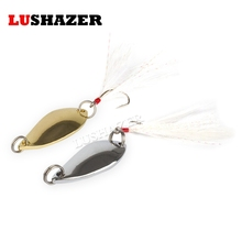 5pcs/lot LUSHAZER 2.5g-5g gold  silver single hook spoon lure fly lures metal spoon bait fishing bass fish spoons spinnerbait
