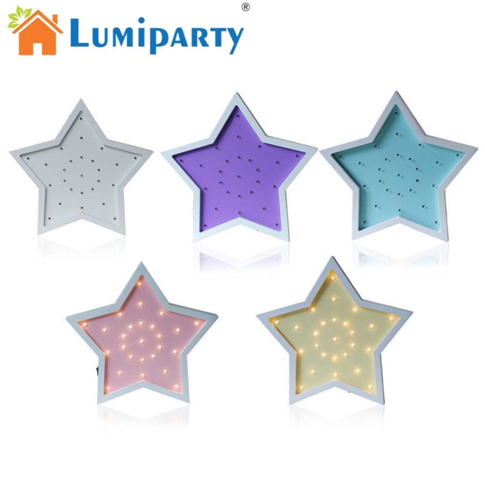 LumiParty Cute LED Night Light retro Wooden Lamp 5-pointed Star Creative Desk Lamp Home Decoration Children 's Birthday Gift birthday gift wooden crescent moon picture creative decoration led night light bedroom lamp table light night lamp