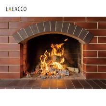 Vinyl Backdrop For Photography Brick Fireplace Wood Burning Fire Country Wallpaper Background Photocall Photo Studio