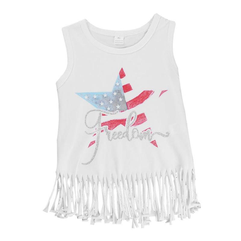 Girls Clothes Five-pointed Star Tassel Vest Sleeveless Casual Baby Girl Summer Clothes For 1-5y Kids Toddler cloth