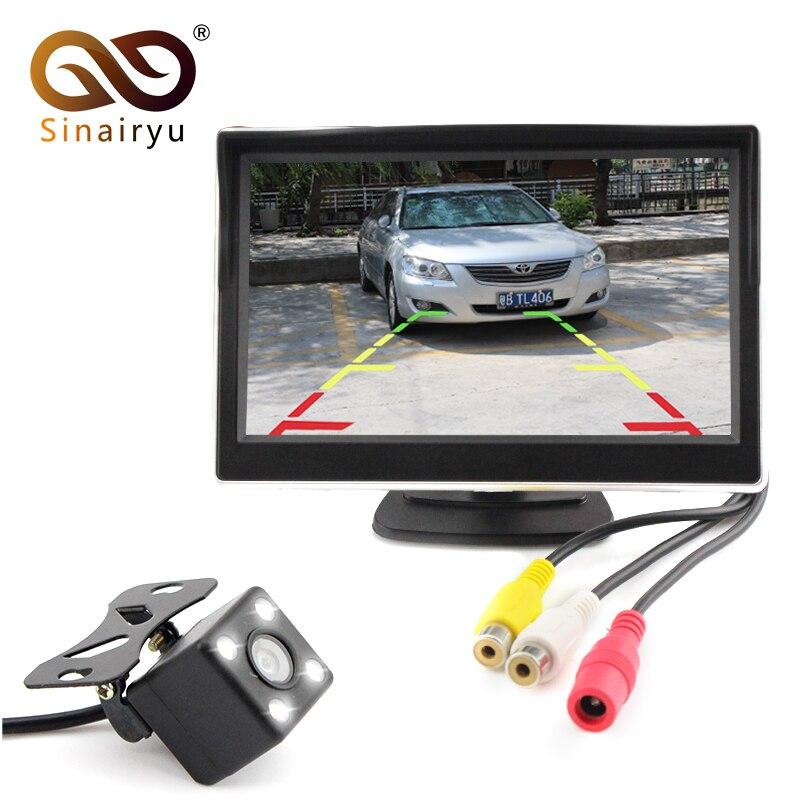 Sinairyu 5 Inch Car Rear View Monitor TFT LCD Screen Digital Color with 2 Video Inputs Night Vision 4 LED Backup Reverse Camera