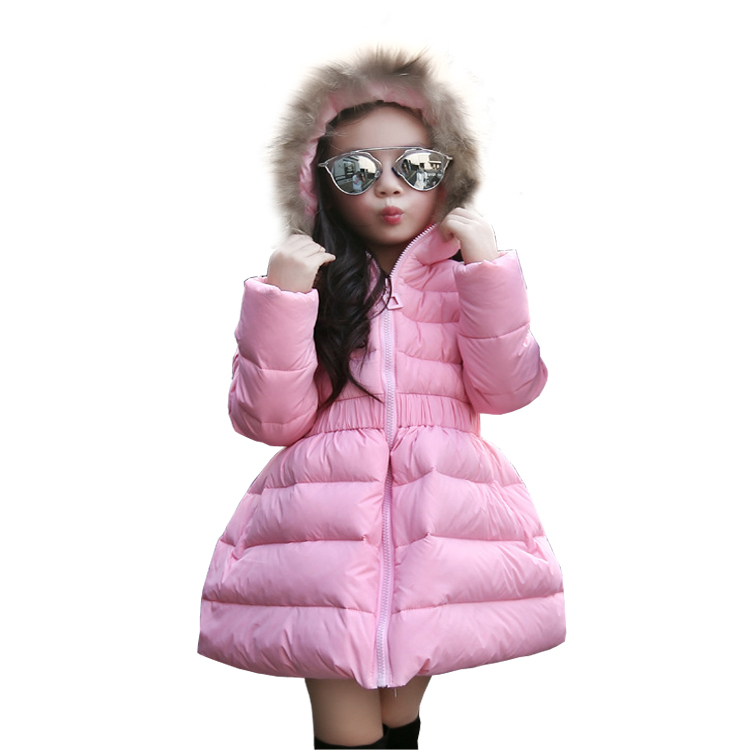 5~11T Youth Big Girls Winter Down Jackets for the Girl Outerwear with Fake Fur Hood Long Coat Solid Color Manteau Fille Hiver блузон fake ethics youth 8 16 лет