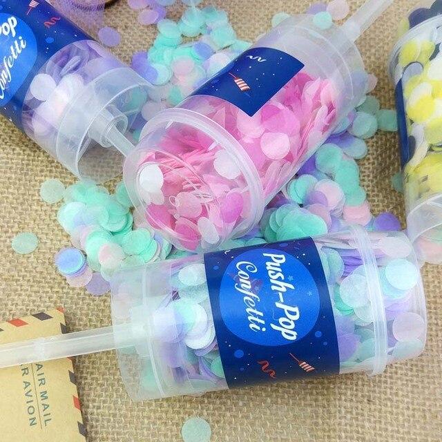 10 unidades/juego de Poppers de confeti de empuje para boda, feliz cumpleaños, confeti de sirena de papel azul y rosa de decoración para fiestas