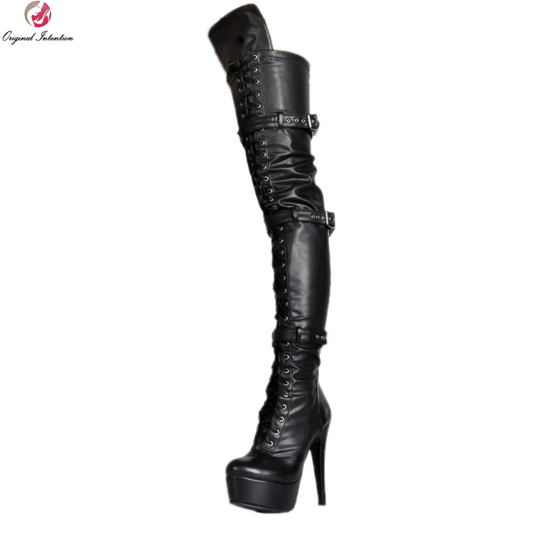 Original Intention New Sexy Women Over-the-Knee Boots Fashion Round Toe Thin Heels Boots Nice Black Shoes Woman Plus Size 4-15 new arrival sexy over the knee boots women platform round toe thin high heels boots black white shoes woman winter