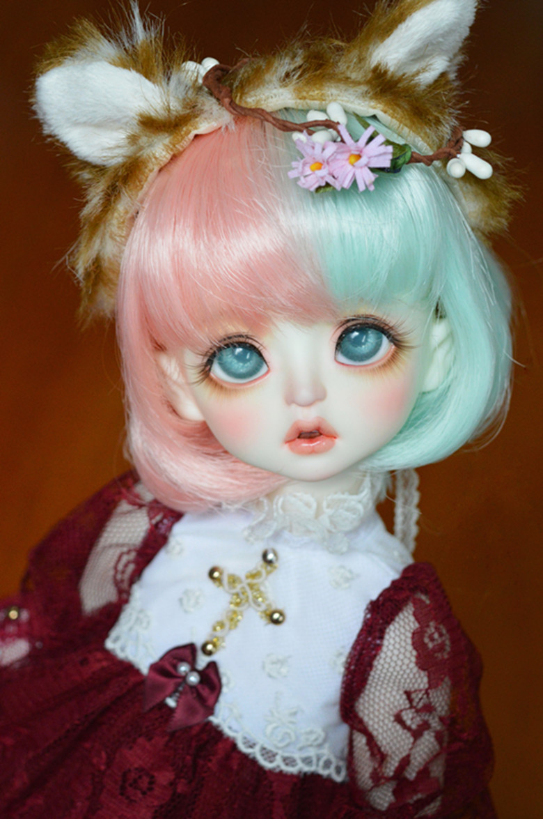 1/3 Bjd Doll Wigs High Temperature Wire Pink And Green Mixed Color Curly Hair For 1/3 Bjd Mdd Dy Doll Accessories Easy To Use