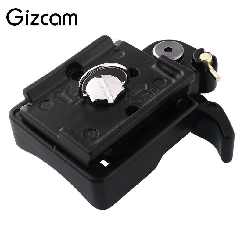 Gizcam Camera Tripod 323 Quick Release Clamp Adapter with Manfrotto 200PL-14 QR Compat Plate Tripod Black