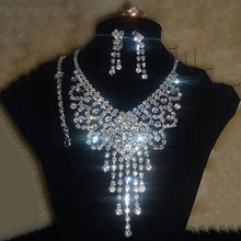 Women Bridal Rhinestone Necklace Earrings Bracelet Ring Fashion Jewelry Set