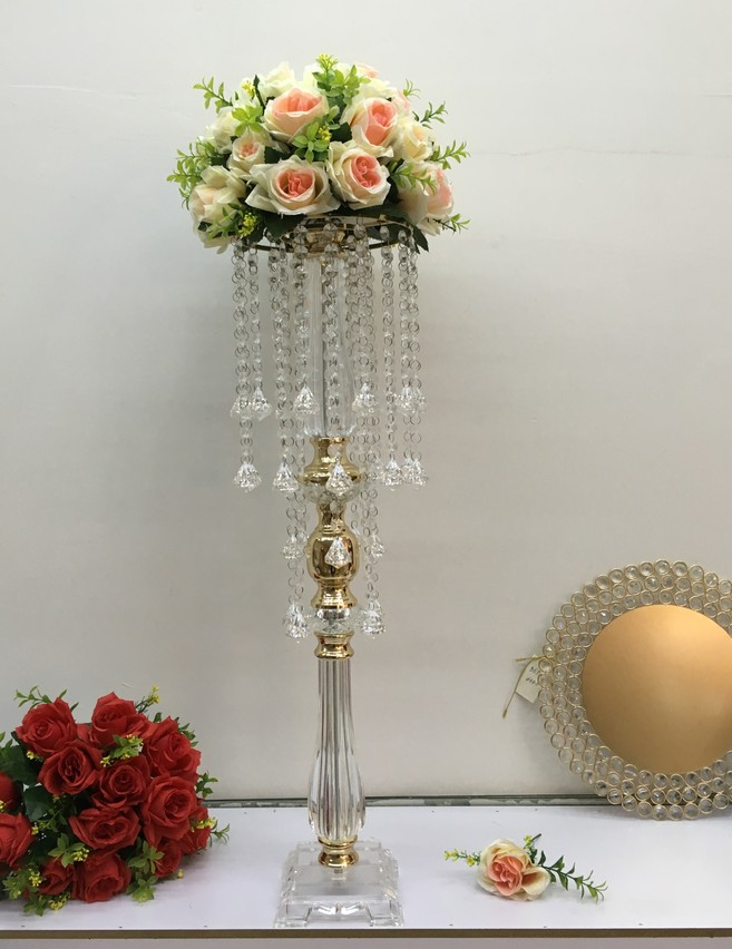 Fausse boule de fleur avec support acrylique centres de mariage en cristal Table d'événement fleurs Vase 70 Cm de hauteur route plomb allée décor de fête