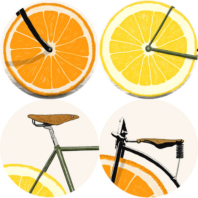 Us 3 97 40 Off Cartoon Fruit Bicycle Wall Art Canvas Prints Abstract Orange Pop Art Poster Modern Cartoon Cuadros Picture For Living Room Decor In