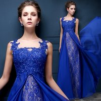 Elegant Muslim Blue Lace Appliques Evening Party Dress 2019 With Train Sequin Moroccan Kaftan Long Prom Formal Gowns Vestidos