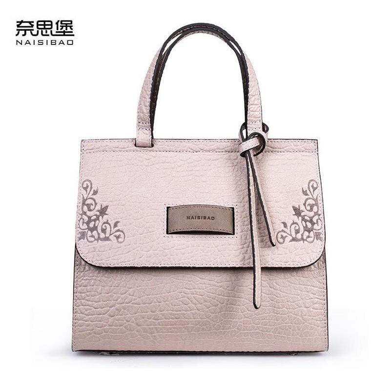 NAISIBAO 2018 новая женская сумка из натуральной кожи с тиснением модная роскошная женская сумка через плечо из воловьей кожи маленькая сумка