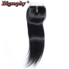 Bigsophy Brazilian Straight Wave Closure 4x4 Human Hair Lace Closure With Baby Hair Free Middle Three Part Remy Hair Closure