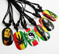 12pcs Bob Marley Fashion Pendant Necklaces Hip top Styles Wholesale Mens Jewerly Lots leaf, one love, rasta...