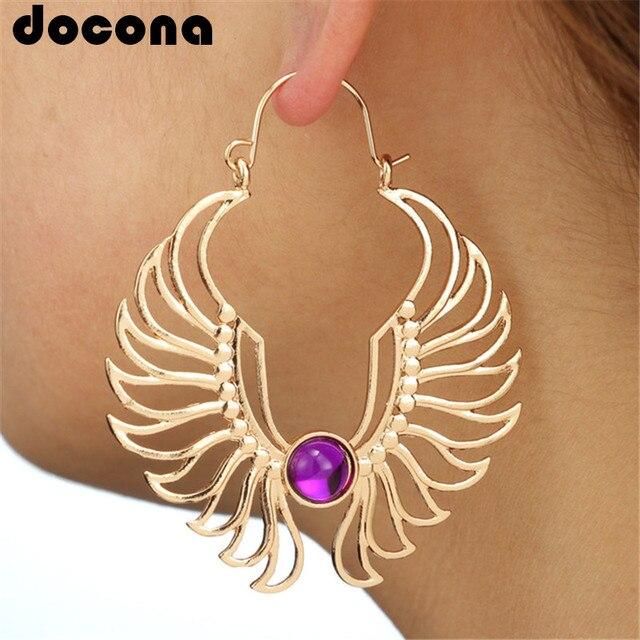 Docona oro plata ala gota pendiente para las mujeres de ala de Ángel púrpura pendientes de diamantes de imitación hueco grande pendiente de gancho Oorbellen 5833