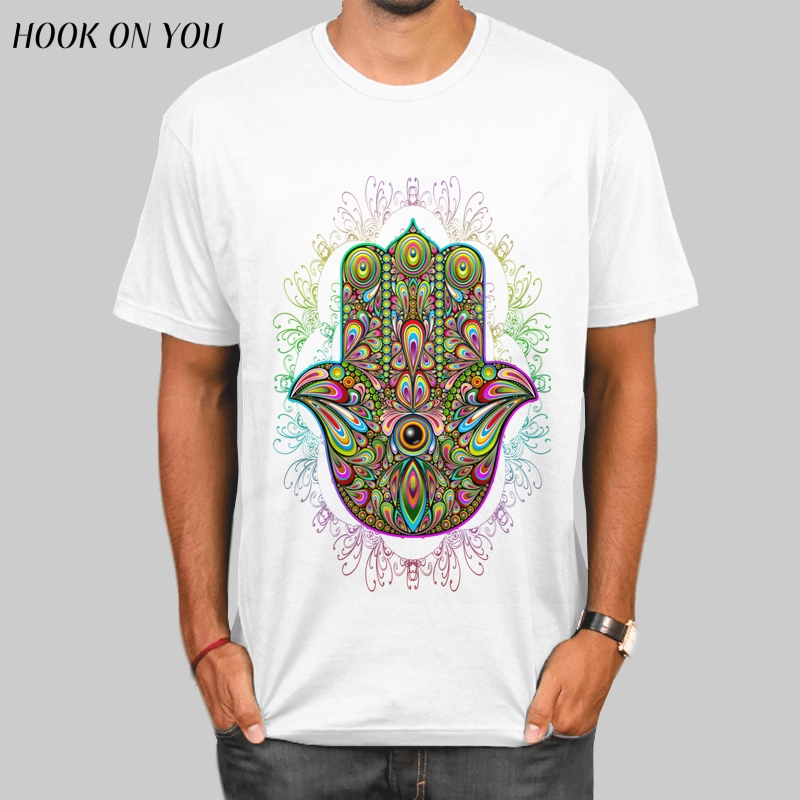 Hamsa Hand Colorful design men's T Shirt Hamsa Hand Amulet Psychedelic print T-shirt High Quality Tops male cool hipster Tee