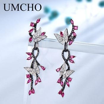 bfd3c143af6c UMCHO 925 Plata de ley pendientes para las mujeres mariposa Natural de  piedras preciosas negro espinela rubí romántico Vintage joyería de la boda