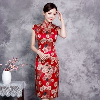 Red Knee Length Rayon Chinese Style Dress Vintage Ladies Short Qipao Classic Stage Show Elegant Female Cheongsam Plus Size XXXXL