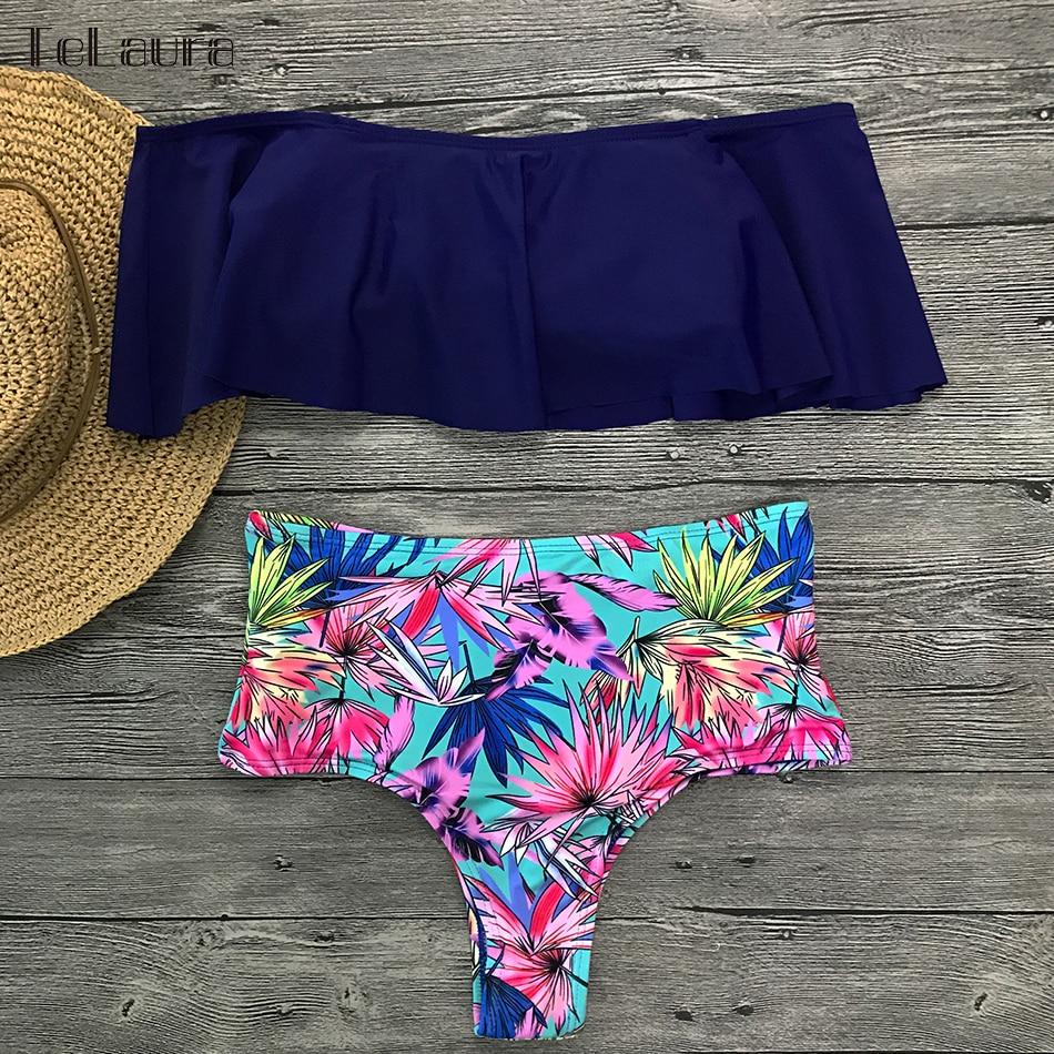HTB12nZhasvrK1Rjy0Feq6ATmVXaZ 2019 New Sexy High Waist Bikini Swimwear Women Swimsuit Off Shoulder Bathing Suit Biquini Ruffle Brazilian Bikini Set Beachwear