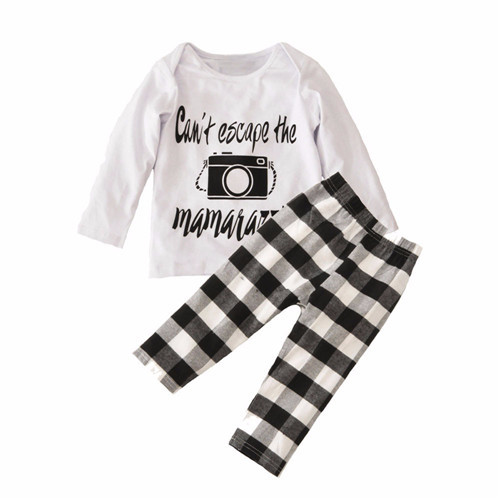 Kid Baby Girls Boy Clothes Letters Camera Top+Grid Pant Outfit Set