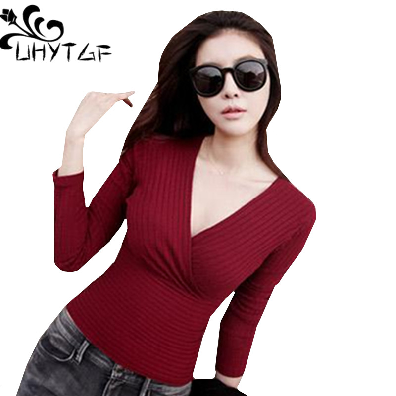 UHYTGFAutumn Woman Sweater Knitting Pullovers New Short Sweater Ladies Harajuku Elasticity Sexy Sweater Female Truien Dames 552