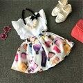 2016 Summer Girls Clothes 2 unids Ropa para Niños para Niñas Niños Ropa chaleco + de la flor/puntos/aroma de impresión skrit muchacha del niño ropa