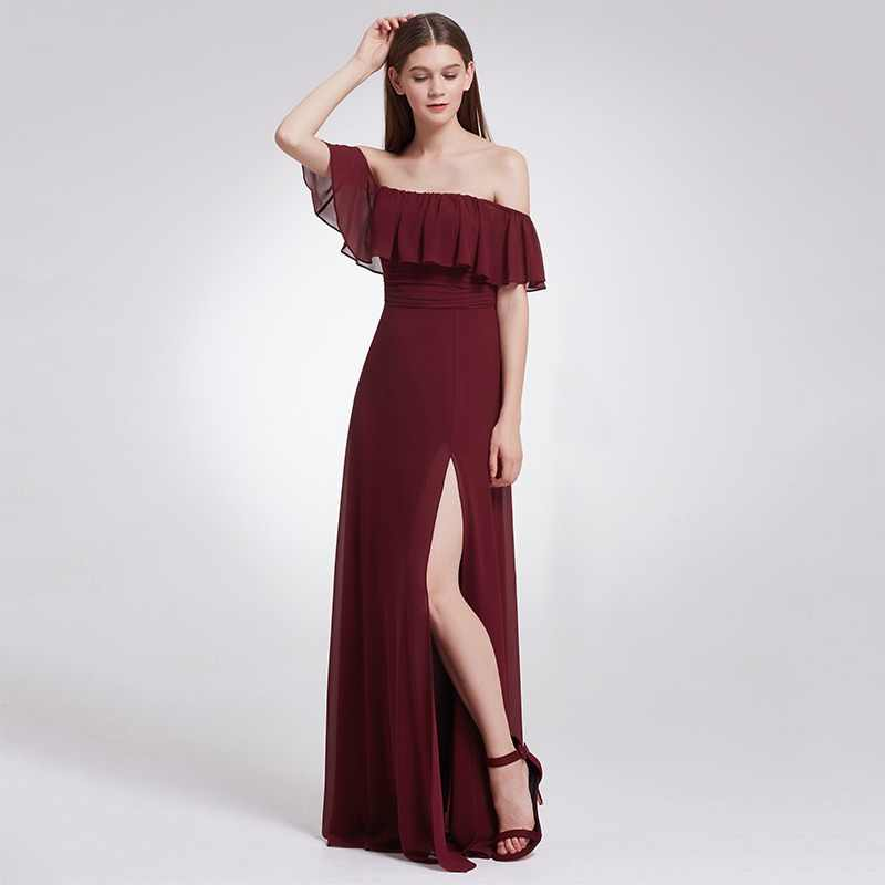 5b1d3319f3 Bonito elegante mujer Sexy largo Borgoña de dama de honor vestidos de  Chiffon Cuello V sin