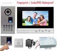 Fingerprint Keypad Wired Intercom For Private House IP65 Waterproof CCD Camera Video Doorbell Door Phone 7