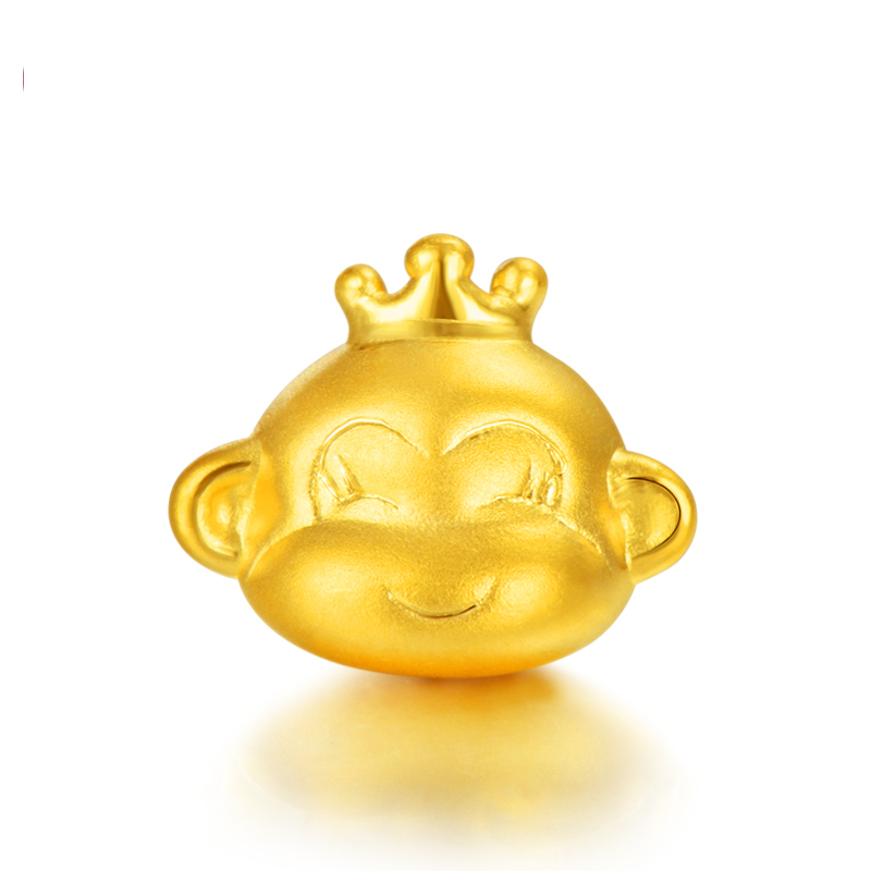Best Gift Pure 999 24K Yellow Gold Women 3D Crown Monkey Head 1-1.5g