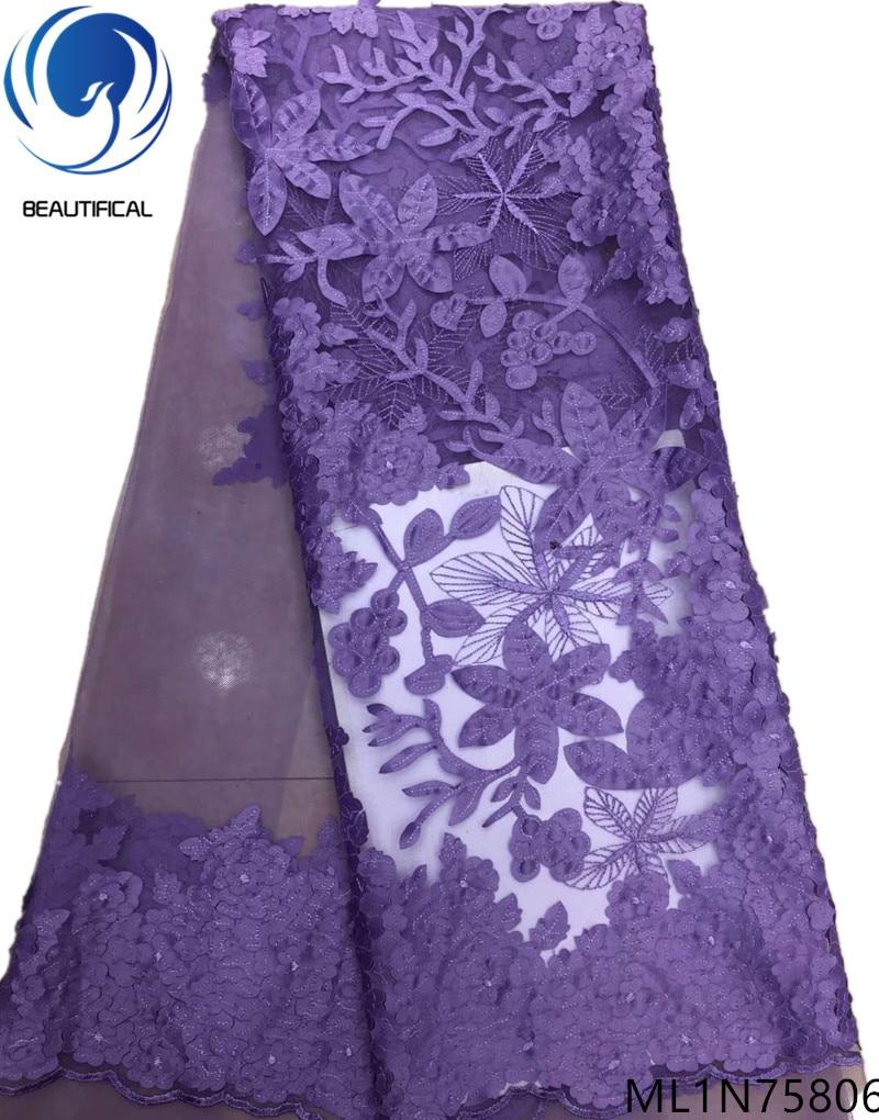 Beautifical africano tessuti di pizzo 2019 di Modo di Taglio Laser tessuto Jacquard nigeriano tessuto netto del merletto per i vestiti 5 metri ML1N758-in Pizzo da Casa e giardino su  Gruppo 2