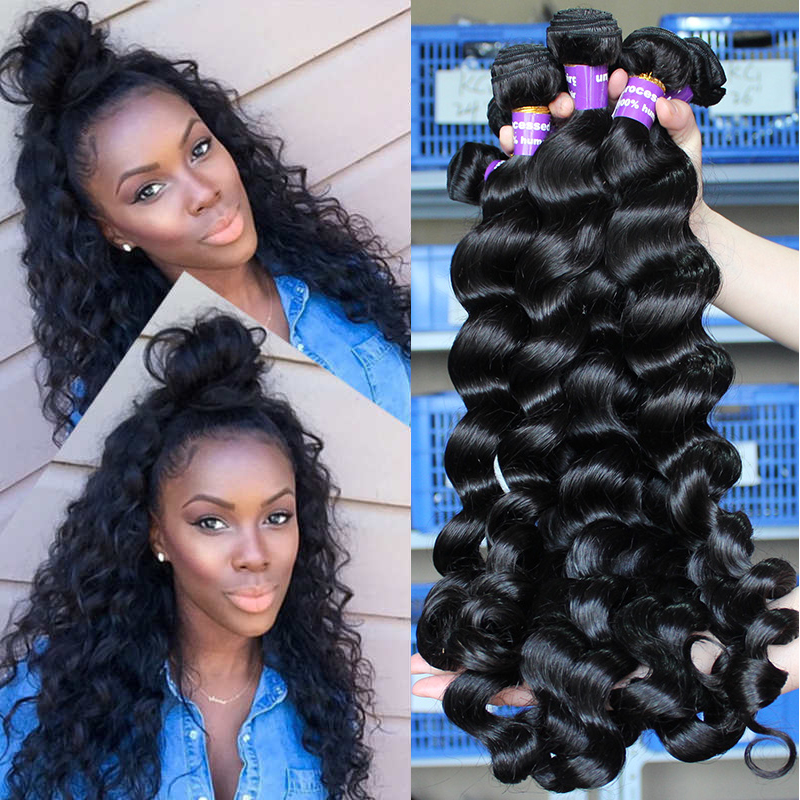 Loose גל חבילות בתולה ברזילאי שיער Weave חבילות 100% שיער טבעי צרור הארכת חתיכה אחת טבעי שחור צבע Prosa