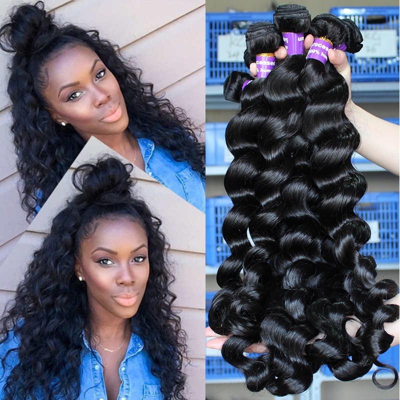 Brazylijskie Dziewicze Włosy Luźne Fale Ludzkie Włosy Tkackie - Włosy ludzkie (na czarno)