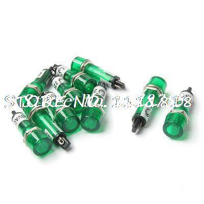 10 Pcs AC 220V 10mm Green Bulb Power Signal Indicator Pilot Light Lamp