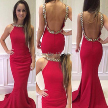 2016 Sexy Long Evening Dress Red Mermaid Dress To Party Open Back Design Crystal Beaded Prom Gowns Sweep Train Robe De Soiree
