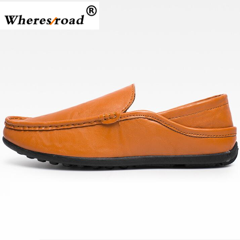 Wheresroad 2017 Men PU Leather Driver Shoes Slip On Black Casual Loafers Mens Moccasins Shoes Italian Designer Walking Sneaker blaibilton 2017 high top quality pu men shoes fashion personality letter platform mens shoes casual designer black blue sd6115