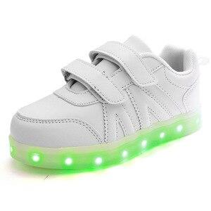 Image 3 - حجم 25 37 USB الأطفال أحذية خفيفة الاطفال مضيئة أحذية رياضية للبنين والبنات Led أحذية Krasovki مع الخلفية مضاءة الأحذية