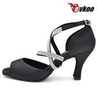 Diomand Strap Black Satin Latin Dance Shoes For Ladies 8cm High Heel Evkoo 071