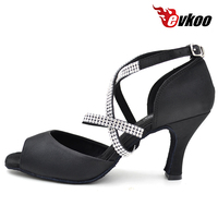 Diomand Strap Black Satin Latin Dance Shoes For Ladies 8cm High Heel Evkoo 071