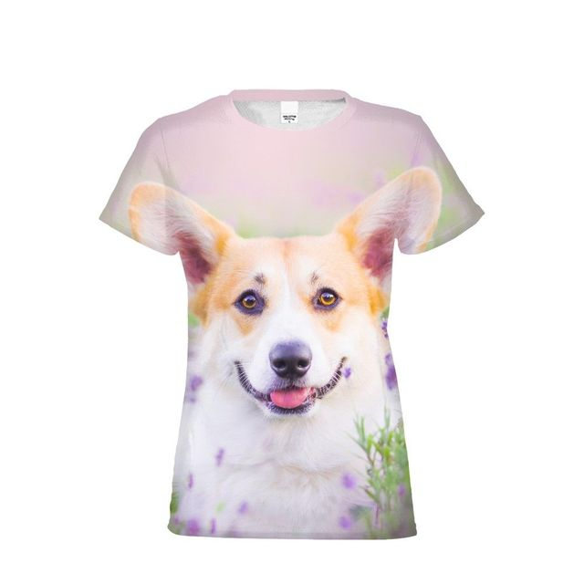 a2919c1112ca US $15.3 40% OFF|T Shirt Women Fashion Corgi 3D Printed Top Tees O Neck  Tops Hip Hop camisas mujer vetement femme poleras de mujer moda-in T-Shirts  ...